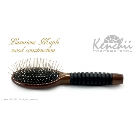 Kenchii Professional Metal Pin Brush with One-piece Maple Body Small