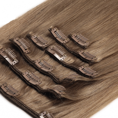 Suprema 100% Real Human Remy Hair Clip On Extensions 7pc Set - Chestnut Brown [8]