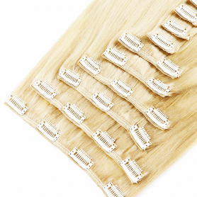 Suprema 100% Real Human Remy Hair Clip On Extensions 7pc Set - Light Blonde [60]