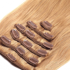Suprema 100% Real Human Remy Hair Clip On Extensions 7pc Set - Honey Blonde [27]