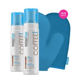 minetan Coffee Coconut Water Foam Duo Pack w/ Applicator + Exfoliator Mitt`