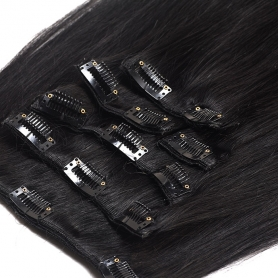 Suprema 100% Real Human Remy Hair Clip On Extensions 7pc Set - Black 1