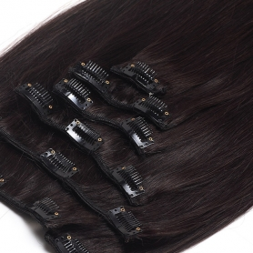Suprema 100% Real Human Remy Hair Clip On Extensions 7pc Set - Dark Brown 1B