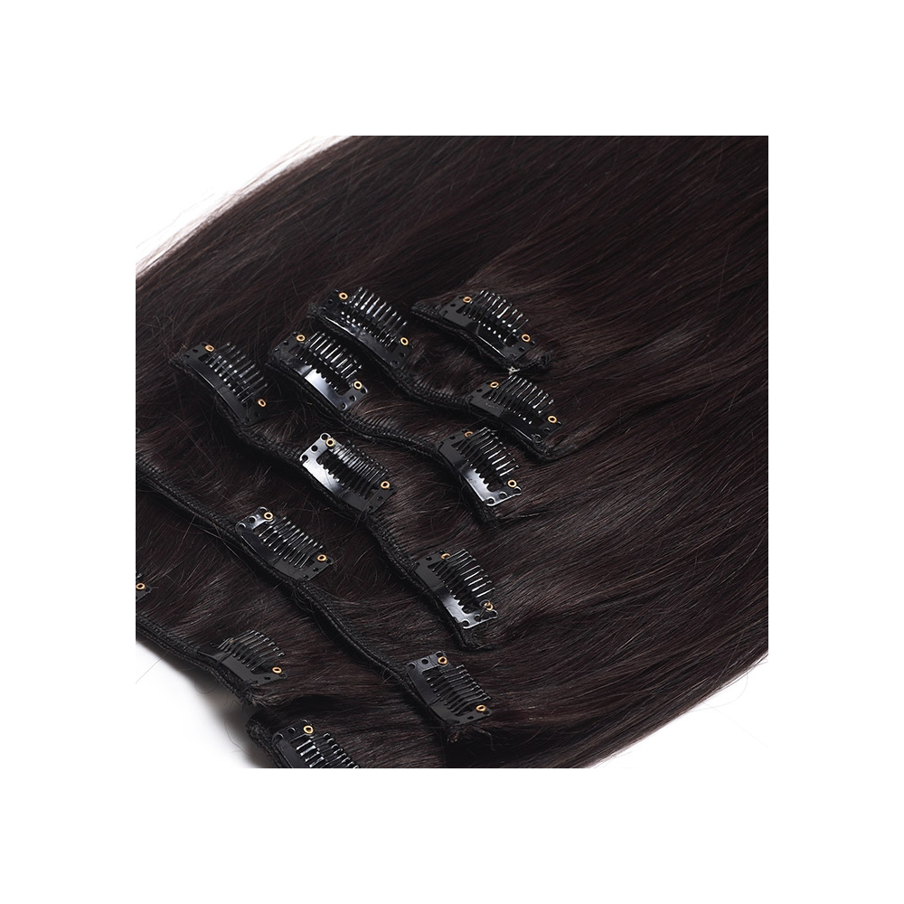Suprema 100 Real Human Remy Hair Clip On Extensions 7pc Set Dark