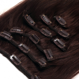 Suprema 100% Real Human Remy Hair Clip On Extensions 7pc Set - Brown 2