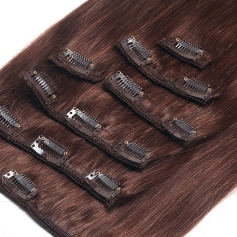 Suprema 100% Real Human Remy Hair Clip On Extensions 7pc Set - Chocolate 4