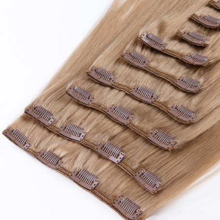 Suprema 100% Real Human Remy Hair Clip On Extensions 7pc Set - Light Chestnut Brown [12]