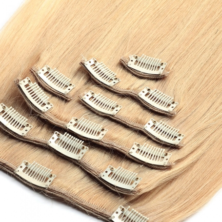 Suprema 100% Real Human Remy Hair Clip On Extensions 7pc Set - Blonde [24]