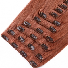 Suprema 100% Real Human Remy Hair Clip On Extensions 7pc Set - Auburn [33]