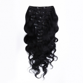 Suprema 100% Real Human Remy Hair Clip On Extensions 7pc Wavy Set - Black [1]