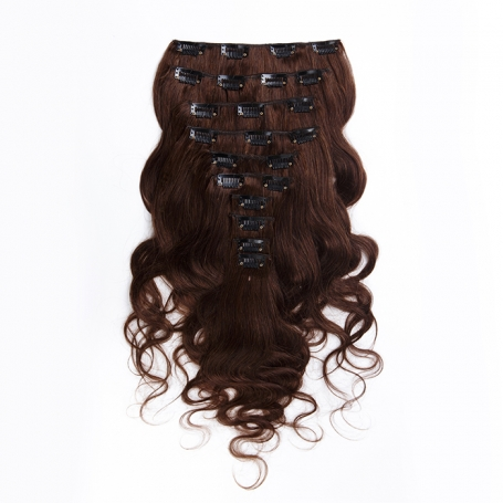 Suprema 100% Real Human Remy Hair Clip On Extensions 7pc Wavy Set - Brown [2]