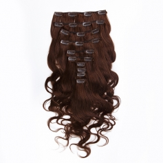 Suprema 100% Real Human Remy Hair Clip On Extensions 7pc Wavy Set - Chocolate [4]