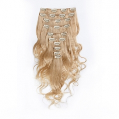 Suprema 100% Real Human Remy Hair Clip On Extensions 7pc Wavy Set - Platinum Blonde [613]