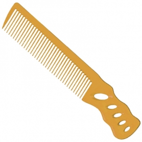 YS Park 238 Short Hair Design Comb with Angled Handle - Camel