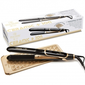 "Olivia Garden Ceramic + Ion 1"" Professional Flat Iron w/ FREE Paddle Brush, Combs & Clips"