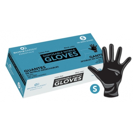 Olivia Garden Essentials Black Nitrile Disposable Gloves (100 ct)