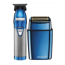 BaByliss PRO Blue FX Collection Metal Outlining Trimmer & Double Foil Shaver Limited Edition Set (FXHOLPK2BC)