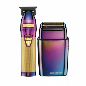 BaByliss PRO Iridescent FX Collection Metal Outlining Trimmer & Double Foil Shaver Limited Edition Set