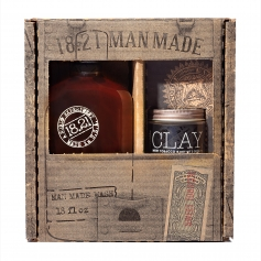 18.21 Man Made Sweet Tobacco 3-in-1 Shampoo, Conditioner, Body Wash (18oz) & Medium-Hold Matte-Finish Clay (2oz)  Duo Gift Set
