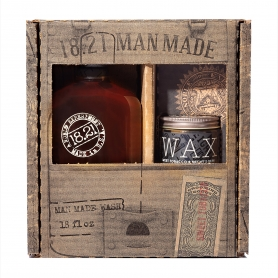 18.21 Man Made Sweet Tobacco 3-in-1 Shampoo, Conditioner, Body Wash (18oz) & High-Hold Low-Shine Hair Wax (2oz) Gift Set