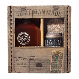 18.21 Man Made Spiced Vanilla 3-in-1 Shampoo, Conditioner, Body Wash (18oz) & Soft-Hold Low-Shine Beard Balm (2oz) Gift Set