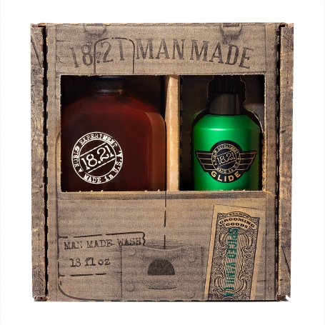 18.21 Man Made Spiced Vanilla 3-in-1 Shampoo, Conditioner, Body Wash (18oz) & Shaving Glide (6oz) Duo Gift Set